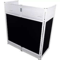 ProX VISTA DJ Booth Facade Table Station with White/Black Scrim kit and Padded Travel Bag White
